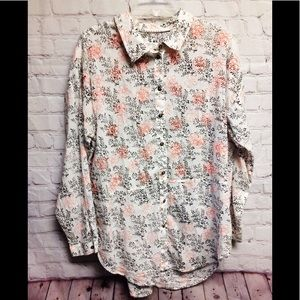 Anthropologie embroidered sheer blouse